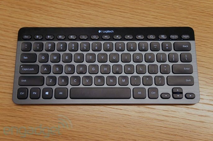 Logitech's K810 keyboard pairs with up to three devices, has a button for switching apps in Windows 8
