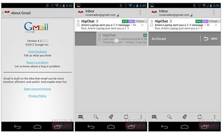 Apparent Gmail for Android 4.2 leak shows off pinch-to-zoom, swipe features