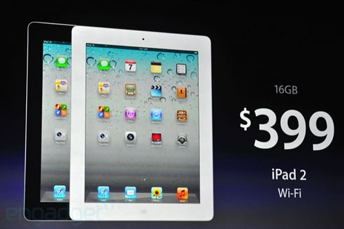 Apple drops iPad 2 price to $399 for the 16GB WiFi-only model, $529 for the 3G version