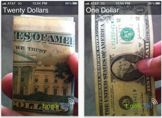 LookTel's Money Reader iOS app helps the visually impaired count money