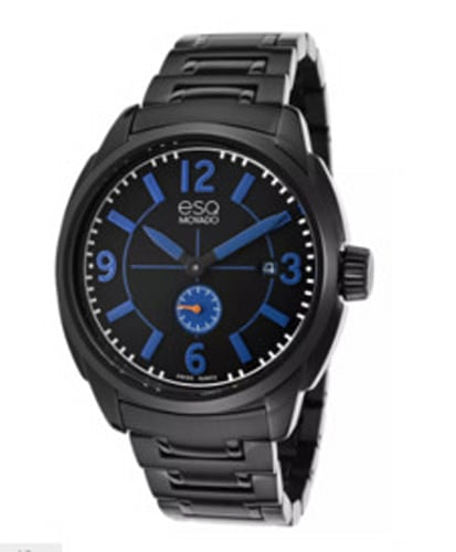 ESQ Movado Plated Stainless Steel & Dial Blue Accent