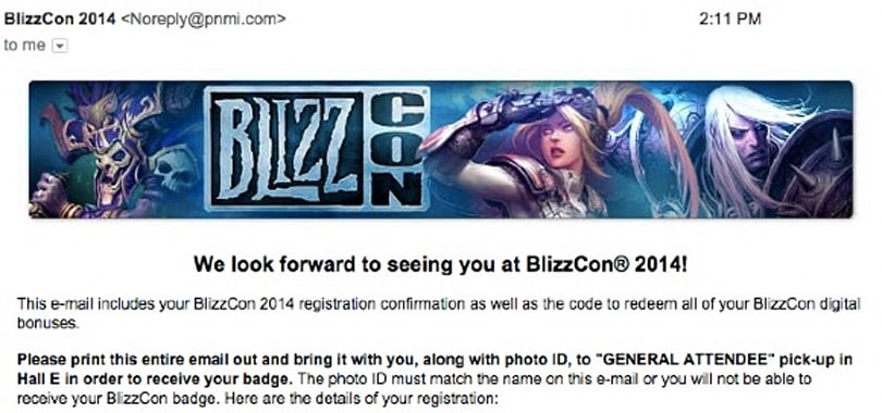 BlizzCon tickets beginning to arrive by email