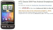 HTC Desire, Legend and HD Mini show up on Amazon UK, expected to arrive on April 1