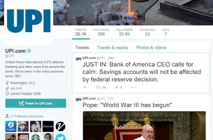 Twitter accounts for NY Post, UPI hacked to push fake WWIII alerts