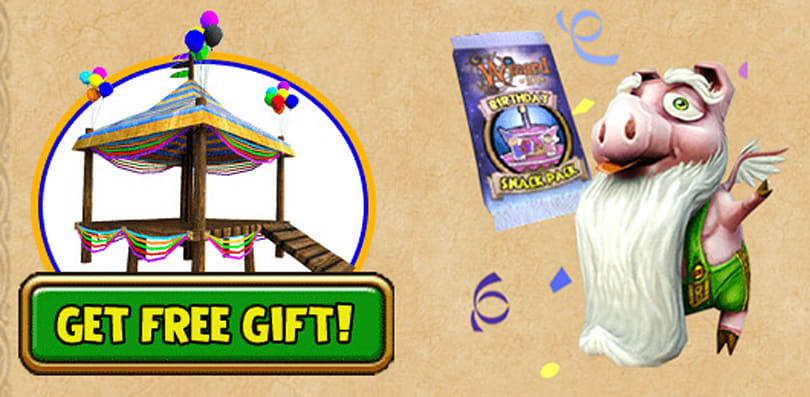 Get free gifts for Wizard101's birthday