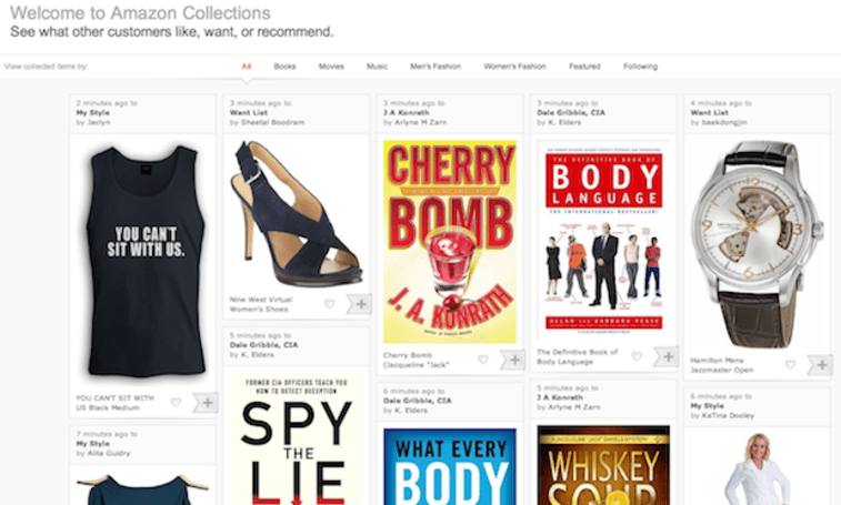 Amazon Collections: like Pinterest, only for stuff Amazon sells