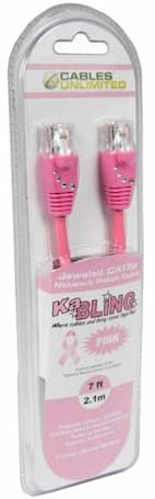National Breast Cancer Foundation CAT5 cable in pink... with crystals