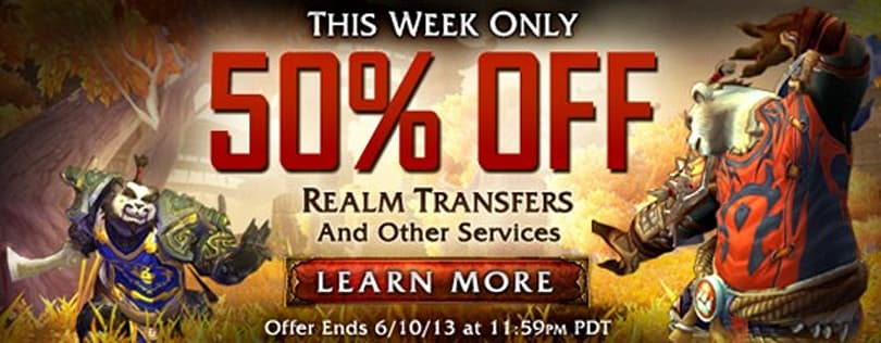 WoW character services and transfers half off this week