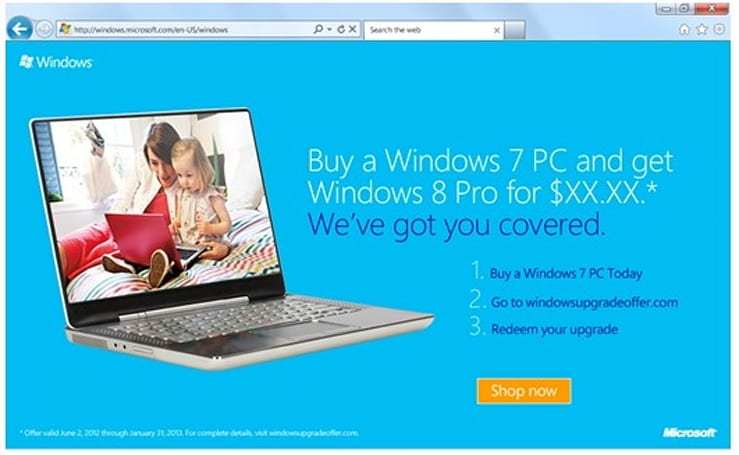 Microsoft to offer $15 Windows 8 upgrade, when you buy a Win7 PC