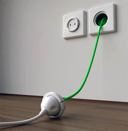 Rambler Socket tucks a recoiling extension cable, pinch of genius within your AC outlet