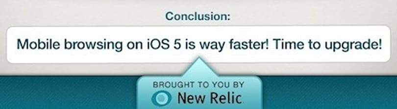 iOS 5 Safari speed gains demonstrated in New Relic infographic
