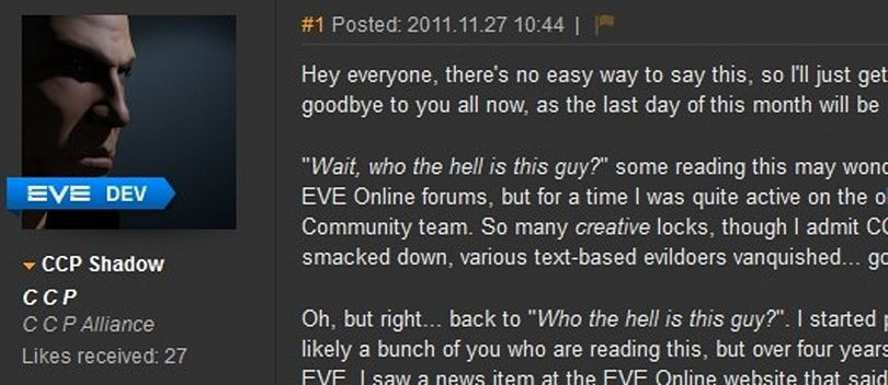 DUST 514 community manager CCP Shadow steps down