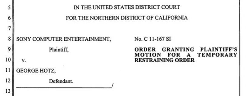 Court grants Sony's temporary restraining order against Geohot, PS3 jailbreak still available everywhere
