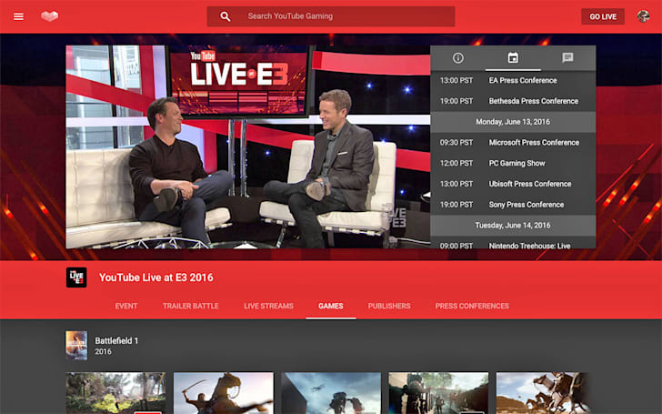 YouTube Gaming launches event hubs with E3 live streams