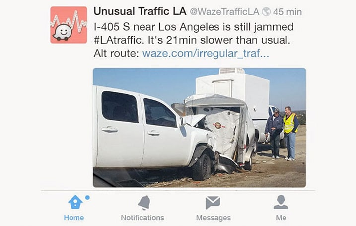Waze will tweet if there's unusual traffic in your area