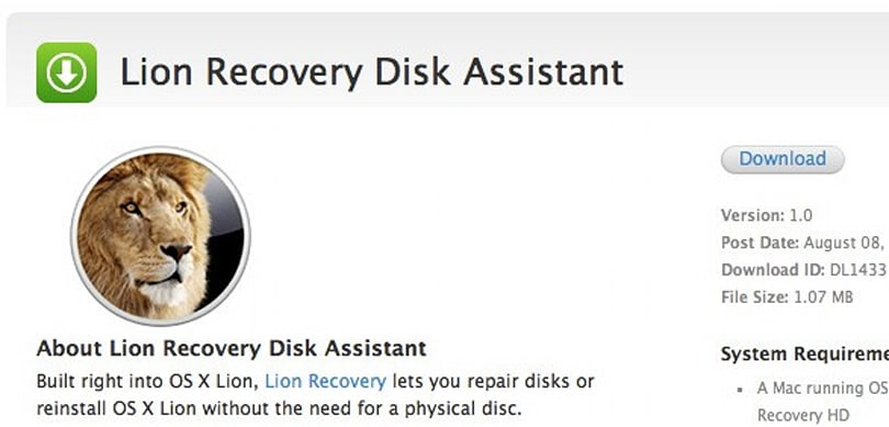 Apple releases Lion Recovery Disk Assistant, asserts its dominance over Snow Leopard
