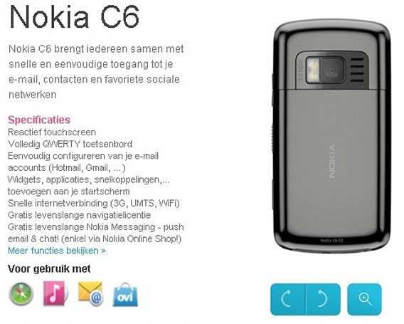 Nokia C6 already updated with 8 megapixel cam, dual flash?