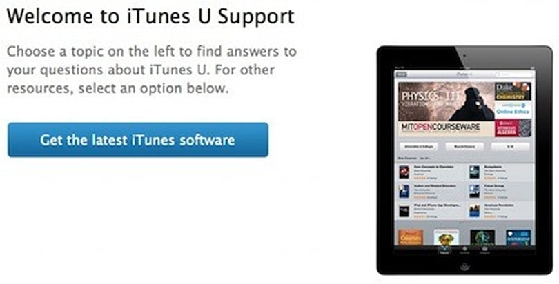 Apple publishes iTunes U support pages
