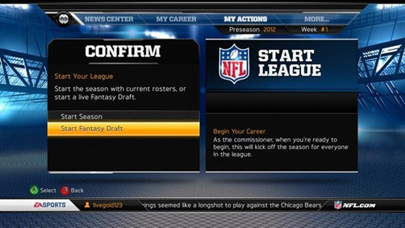 Madden 13 gets server-side fantasy drafts