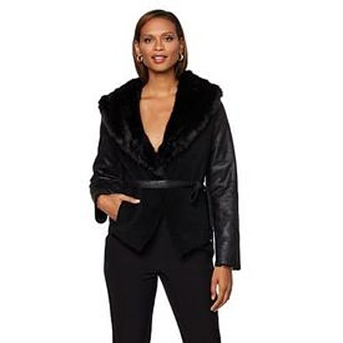 Serena Williams Belted Faux Shearling Wrap Jacket