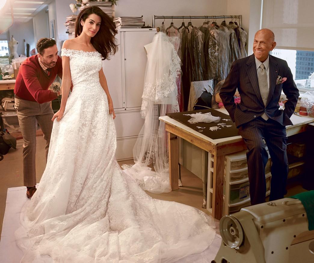Inside Amal Alamuddin's wedding dress fitting with Oscar de la Renta and 'Vogue'