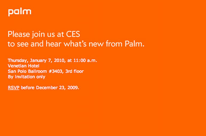 Palm invites us to 'see and hear what's new' at CES 2010