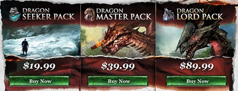 Limited-time VIP packs for Dragon's Prophet include beta access, houses