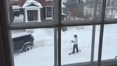 Brave Snowboarder Gets Towed By Jeep