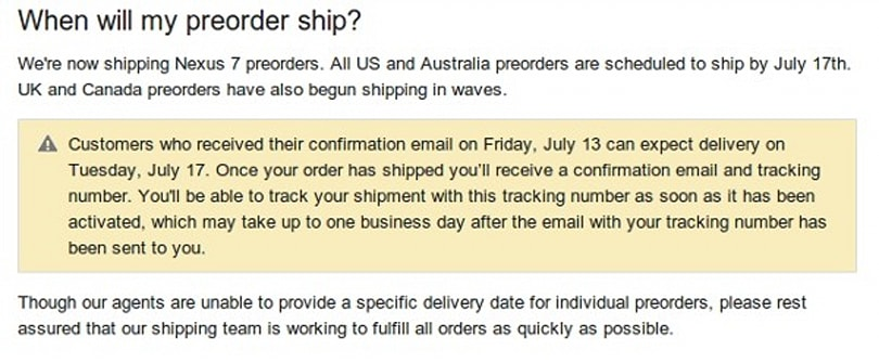 Nexus 7 pre-orders start shipping in UK and Canada (Update: model specific US details)