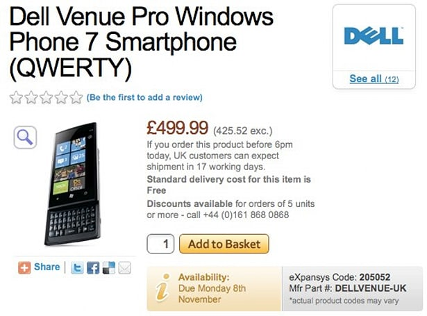 Dell Venue Pro gets Expansys listing: £499.99 for November 8th (update: Amazon, too)