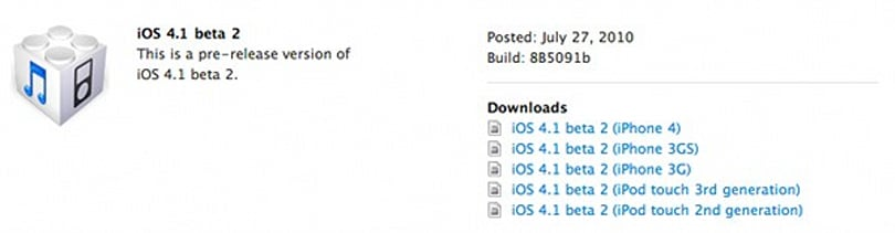 Apple iOS 4.1 beta 2 now available for developers