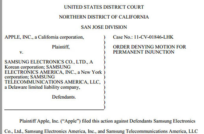 Judge denies Apple a permanent ban on Samsung devices, tosses Samsung's attempt at a new trial