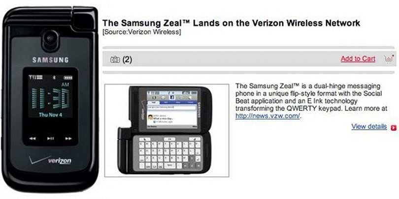 Samsung Zeal and its dual-hinge design now official on Verizon: $79.99 (updated)