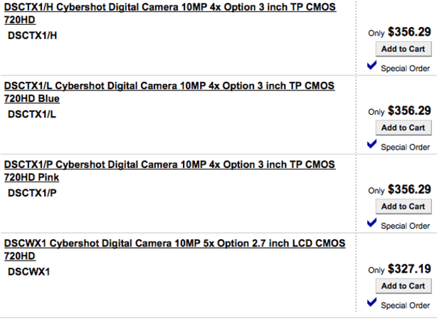 Sony readying CyberShot DSC-TX1 and DSC-WX1 cameras?
