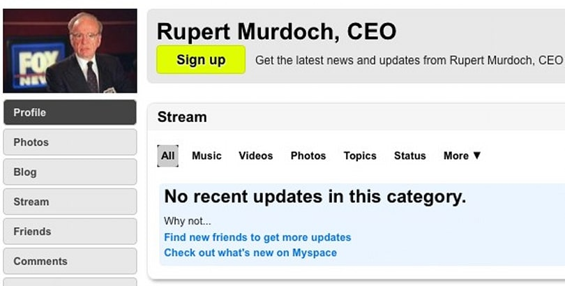 Specific Media buys MySpace, already has one friend named Tom
