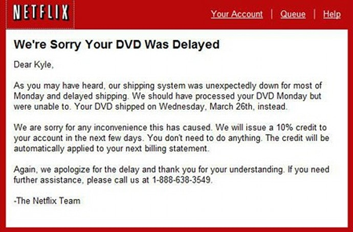 Netflix issuing 10% credit to make amends for downtime?