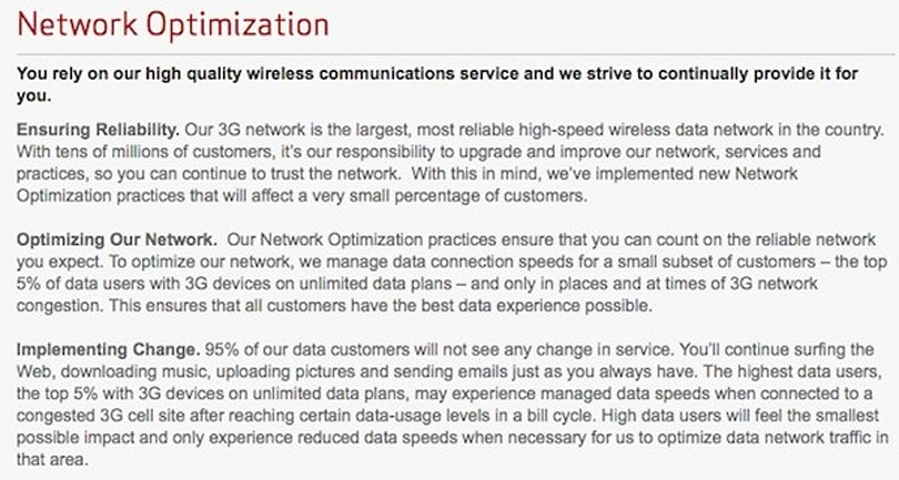 Verizon starts 'optimizing' (read: throttling) network for the most data hungry users