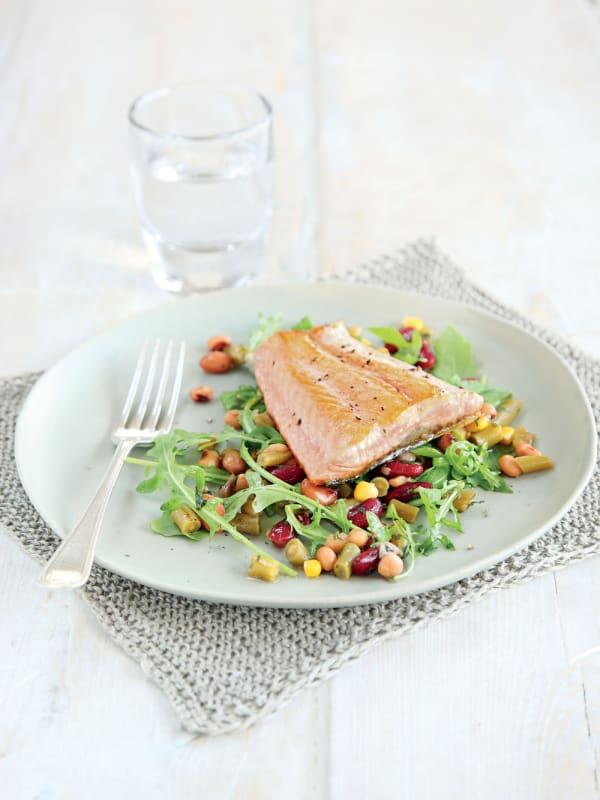 Pan-Fried Salmon with Mixed Bean Salad recipe