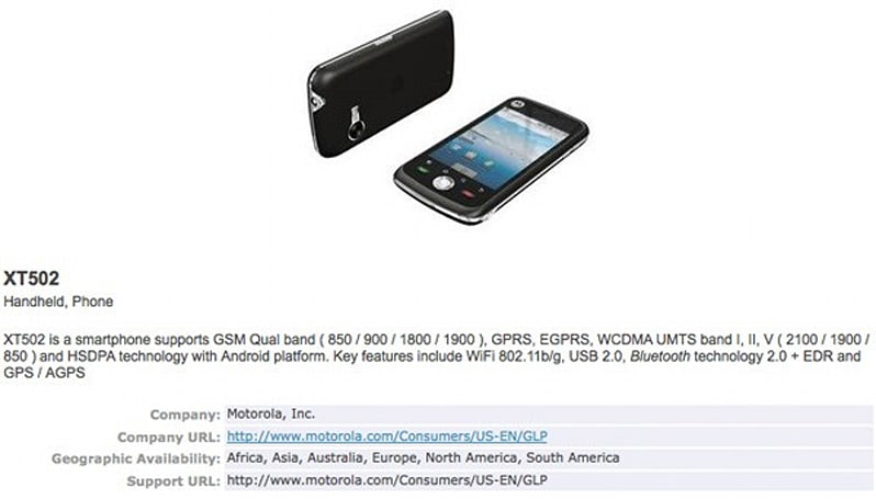 Motorola XT502 another Android phone for North America?