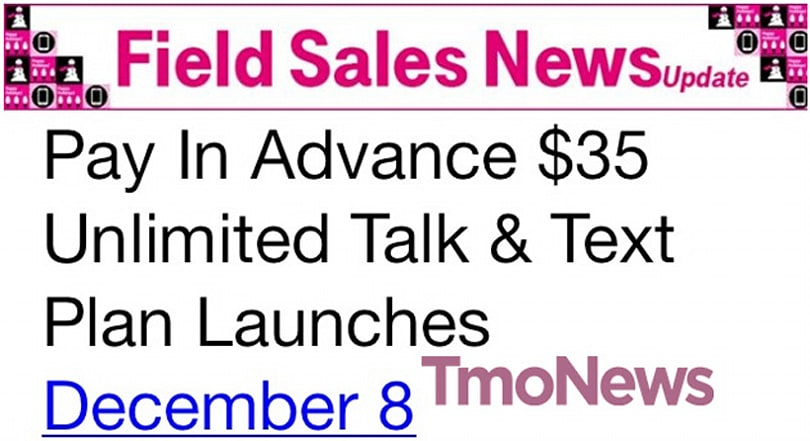 T-Mobile to launch data-free $35 Unlimited Talk and Text plan on December 8th