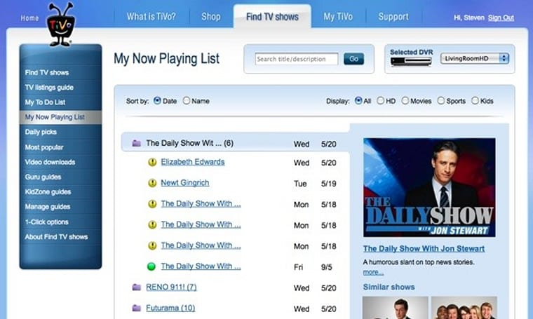 TiVo Central Online adds Now Playing and To Do lists