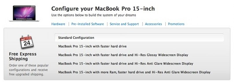 """Online Apple Store adds one-click """"popular configurations"""" option"""
