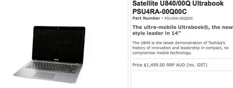 Toshiba Satellite U840 goes official for Australia, still waiting on its US passport