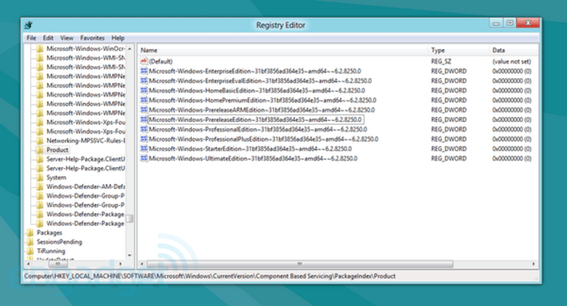 Windows 8 registry shows nine separate flavors to choose from