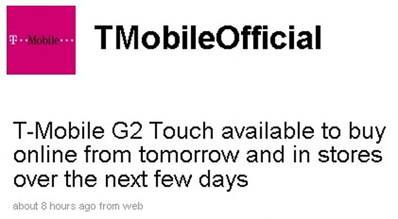 T-Mobile UK's Hero hits tomorrow as G2 Touch