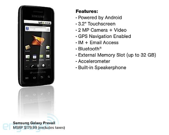 Galaxy Prevail leaked along with other Boost and Virgin Mobile updates