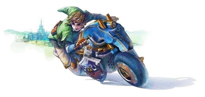 Link's Master Cycle makes spirit tracks in Mario Kart 8 DLC