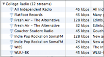 College radio stations in iTunes
