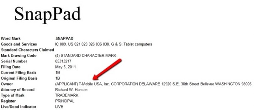 T-Mobile snaps up 'SnapPad' trademark and domains, inadvertently teases tablet?