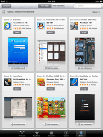 iPad app store gains genius section